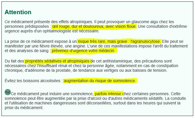 Contre-indication de la périactine, souvent presprit pour grossir